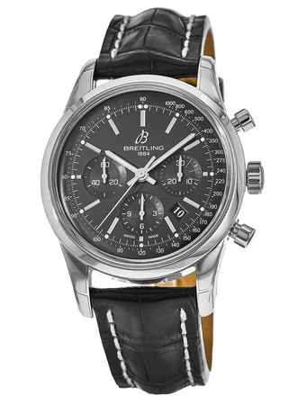 Breitling Transocean Chronograph Black Dial Black Leather Men's Watch AB015212/BA99-743P