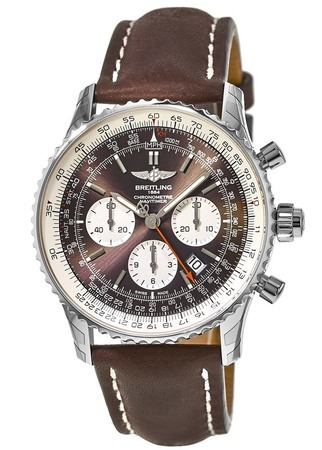 Breitling Navitimer Rattrapante Bronze Dial Brown Leather Men's Watch AB031021/Q615-443X