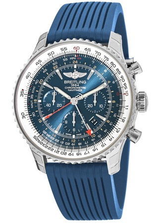 Breitling Navitimer GMT Aurora Blue Chronograph Limited Edition Men's Watch AB04411A/C937-258S