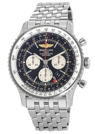 Breitling Navitimer GMT Pilot's Travel Chronograph Black Dial Men's Watch AB044121/BD24-453A