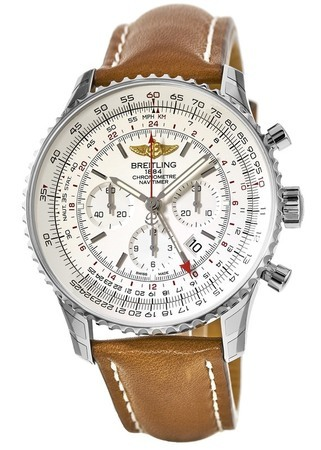 Breitling Navitimer GMT Silver Chronograph Dial Brown Leather Strap Men's Watch AB044121/G783/439X