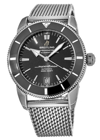 Breitling Superocean Heritage II Automatic 42 Volcano Black Dial Ceramic Bezel Steel Mesh Band AB2010121B1A1 Men's Watch AB201012/BF73-154A