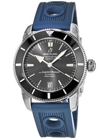 Breitling Superocean Heritage II 42 Black Dial Blue Rubber Strap Men's Watch AB201012/BF73-211S