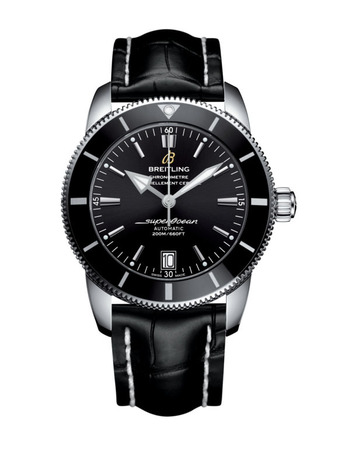 Breitling Superocean Heritage II 42 Black Dial Black Leather Men's Watch AB201012/BF73-743P