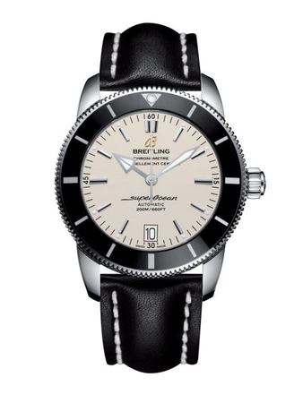 Breitling Superocean Heritage II 42 Silver Dial Black Leather Men's Watch AB201012/G827-435X