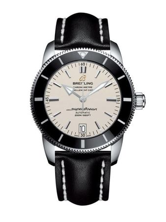 Breitling Superocean Heritage II 42 Stratus Silver Dial Black Leather Men's Watch AB201012/G827-436X
