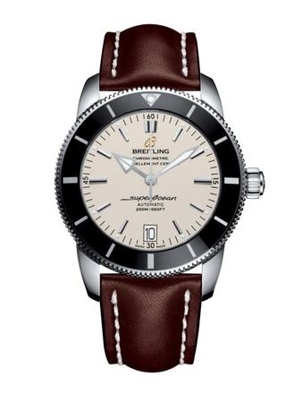 Breitling Superocean Heritage II 42 Stratus Silver Dial Brown Leather Men's Watch AB201012/G827-438X