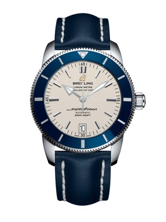 Breitling Superocean Heritage II 42 Silver Dial Blue Leather Men's Watch AB201016/G827-105X