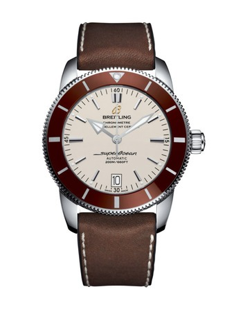 Breitling Superocean Heritage II 42 Stratus Silver Dial Bronze Bezel Brown Rubber-Leather Men's Watch AB201033/G827-294S