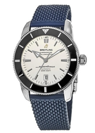 Breitling Superocean Heritage II Automatic 46 Silver Dial Blue Rubber Strap Men's Watch AB202012/G828-276S