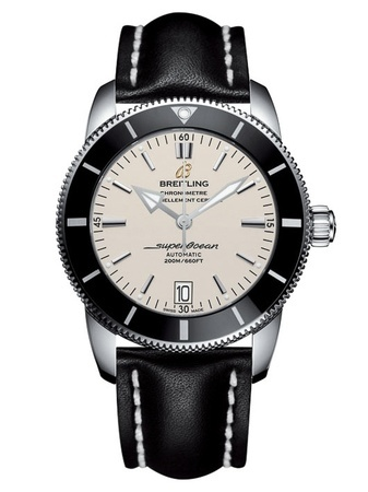 Breitling Superocean Heritage II 46 Stratus Silver Dial Black Leather Men's Watch AB202012/G828-441X