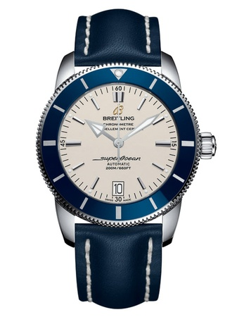 Breitling Superocean Heritage II Automatic 46 Silver Dial Blue Leather Men's Watch AB202016/G828-101X