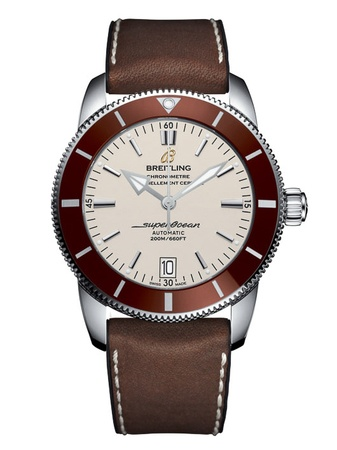 Breitling Superocean Heritage II 46 Stratus Silver Dial Bronze Bezel Brown Rubber-Leather Men's Watch AB202033/G828-295S