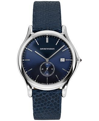Emporio Armani Classic  Blue Leather Men's Watch ARS1010
