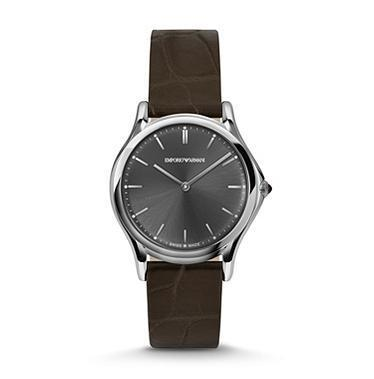 Emporio Armani Classic  Grey Dial Brown Leather Unisex Watch ARS2000