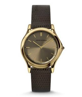 Emporio Armani Classic  Bronze Dial Brown Leather Unisex Watch ARS2004