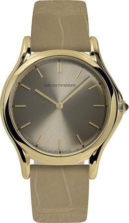 Emporio Armani Classic  Bronze Dial Light Brown Leather Unisex Watch ARS2011