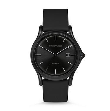 Emporio Armani Classic  Black Rubberized Leather Men's Watch ARS3015