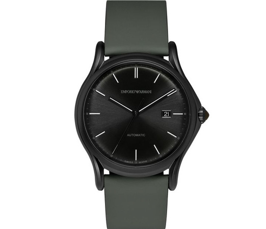 Emporio Armani Classic  Military Green Rubberized Leather Men's Watch ARS3016