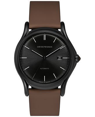 Emporio Armani Classic  Brown Rubberized Leather Men's Watch ARS3017