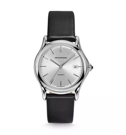 Emporio Armani Classic  Silver Dial Black Leather Unisex Watch ARS3102