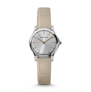 Emporio Armani Classic  Silver Dial Nude Leather Women's Watch ARS7005