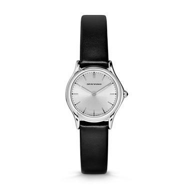 Emporio Armani Classic  Silver Dial Black Leather Women's Watch ARS7200