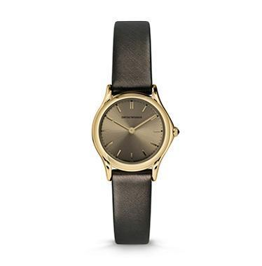 Emporio Armani Classic  Dark Brown Satin Strap Bronze Dial Women's Watch ARS7202
