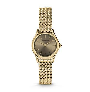 Emporio Armani Classic  Gold Plated Bronze Dial Women's Watch ARS7205