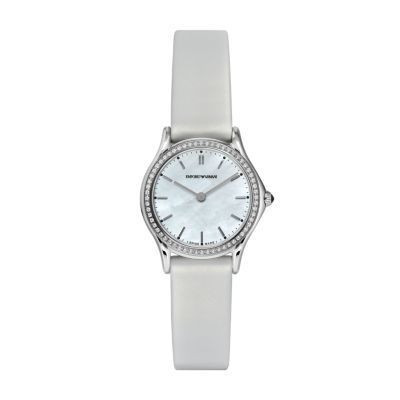 Emporio Armani Classic  Mother of Pearl Diamond Dial White Satin Strap Women's Watch ARS7206