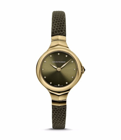 Emporio Armani Classic  Olive Green Diamond Dial Women's Watch ARS8006