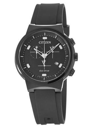Citizen Paradex  Black Chronograph Dial Black Rubber Men's Watch AT2405-01E