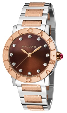 Bulgari   Stainless Steel And Rose Gold Brown Dial Women's Watch BBL33C11SPG/12