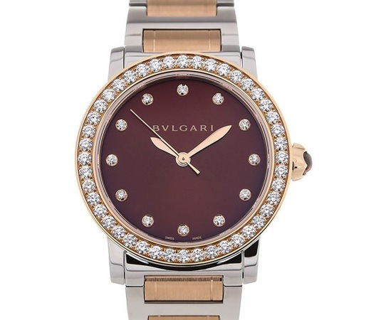 Bulgari   Rose Gold and Stainless Steel Brown Dial Women's Watch BBL33C11SPGD/12