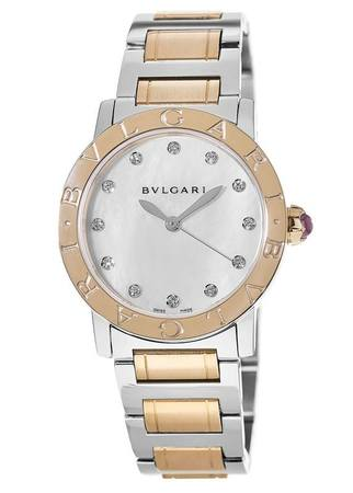 Bulgari   Stainless Steel And Rose Gold Mother of Pearl Dial Women's Watch BBL33WSPG/12
