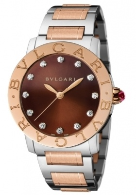 Bulgari   Stainless Steel And Rose Gold Brown Dial Women's Watch BBL37C11SPG/12