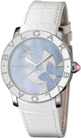 Bulgari   Blue Mother Of Pearl Diamond Flower Motif Women's Watch BBL37FDSL
