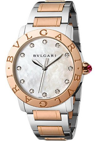 Bulgari   Stainless Steel And Rose Gold Mother of Pearl Dial Women's Watch BBL37WSPG/12