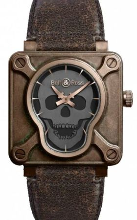Bell & Ross Aviation  BR 01 Skull Bronze Men's Watch BR0192-SKULL-BR