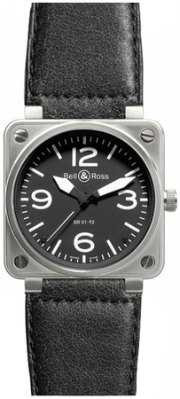 Bell & Ross Aviation  Automatic 46mm Men's Watch BR01-92-Steel-Blackleather