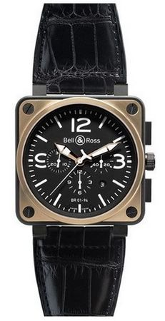 Bell & Ross Aviation  BR 01-94 Pink Gold & Carbon Officer Men's Watch BR0194-BICO-OF