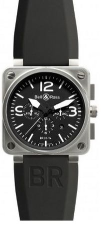 Bell & Ross Aviation  BR 01-94 Steel Men's Watch BR0194-BL-ST