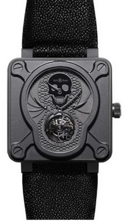 Bell & Ross Aviation  BR 01 Tourbillon Skull Men's Watch BR01-TOURB-AIRBORN