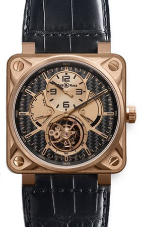 Bell & Ross Aviation  BR 01 Tourbillon Pink Gold Men's Watch BR01-TOURB-PG/DCL