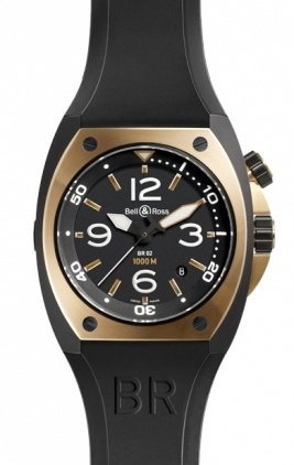 Bell & Ross Marine  Automatic 44mm Men's Watch BR02-92-Pink-Gold-And-Carbon