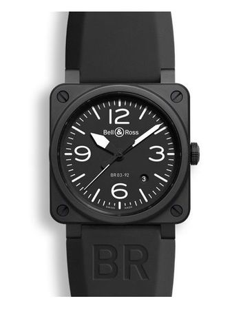 Bell & Ross Aviation  Black Matte Ceramic Automatic Rubber Strap Men's Watch BR0392-BL-CE