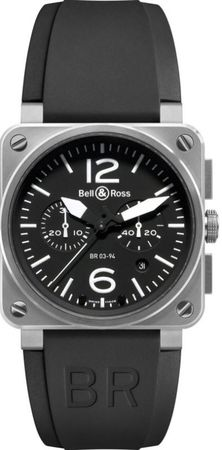 Bell & Ross Aviation  BR03-94 STEEL/2 Men's Watch BR0394-BL-ST