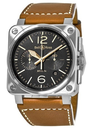 Bell & Ross Aviation  Black Chronograph Men's Watch BR03-94-Golden Heritage
