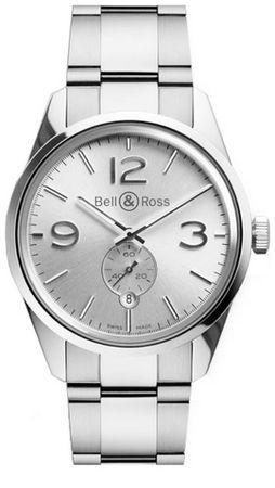 Bell & Ross Vintage  BR 126 Officer Silver Steel Men's Watch BRG123-WH-ST/SST
