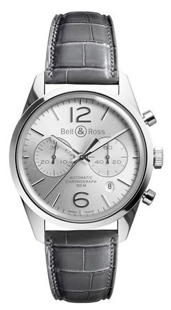 Bell & Ross Vintage  BR 126 Officer Silver Men's Watch BRG126-WH-ST/SCR